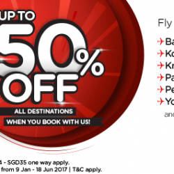 AirAsia: Up to 50% off All Destinations + Coupon Code for Additional 10% OFF