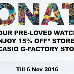 Casio: Enjoy 15% OFF Storewide when You Donate Your Pre-Loved Watch