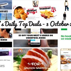 BQ's Daily Top Deals: Singapore Airlines Early Bird Fares, 30% off All GrabHitch Rides, GST Voucher Rebate in Oct 2016, Uniqlo Exclusive Offers, The Sushi Bar Dining 1-for-1 Salmon Sashimi + Beer Offers, Samsung Life 1-for-1 Freshkon Contact Lenses, Samsung Pay 1-for-1 Offers with Maybank Cards + $10 Rebate, $3 off Next 5 uberX or uberPOOL Rides, GrabTaxi Waiver of Booking Fee, KFC Weekday Deals & BreadTalk 20% off New Collection