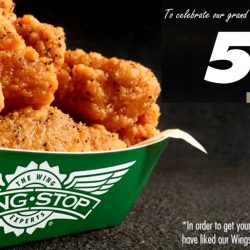Wingstop: 5 FREE Wings & a Coca-Cola Freestyle Drink Per Person at VivoCity, No Purchase Required!
