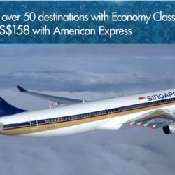 Singapore Airlines: Economy Class Early Bird Fares from $158 with American Express to over 50 Destinations