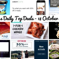 BQ's Daily Top Deals: ComfortDelGro $8 OFF After 10pm, Deliveroo 1-for-1 Chicken Wings, UberEATS 30% OFF Your Next 3 Orders, FairPrice Xpress/Cheers 3 Pints of Ben & Jerry's at $29.50, Tigerair Airfare Promotion from $39, Cotton On Online Exclusive Sale 30% OFF Storewide, ZUJI Flash Sale, McCafe Pay $3 for a Sandwich with a McCafe Drink & Paradise Hotpot 50% OFF All Ingredients!