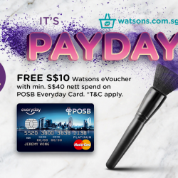 Watsons: Free S$10 Watsons eVoucher with min. S$40 nett spend on POSB Everyday Card Online
