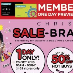 Watsons: One Day Sale-bration with Hot Buys of Up to 50% OFF, 6% Cash Rebate with POSB Everyday Card & Free Gifts with Purchase