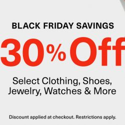 Amazon Black Friday 30% Off select clothing, shoes, jewelry, watches & more