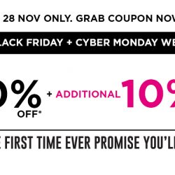 Sasa: Black Friday + Cyber Monday Online Sale Up to 60% OFF + Additional 10% Cart Coupon!