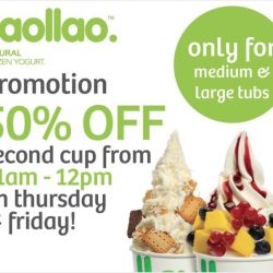 llaollao: 50% OFF Second Cup of Frozen Yogurt at 5 Outlets on Thursdays & Fridays