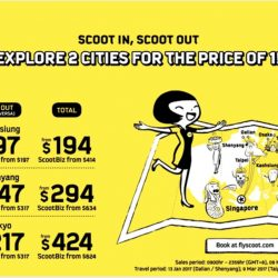 FlyScoot: Explore 2 Cities for the Price of 1 with All-in Return Fares from S$194 (Taipei + Kaohsiung, Dalian + Shenyang, Osaka + Tokyo)