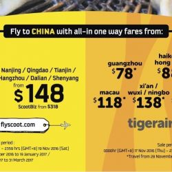 FlyScoot/Tigerair: Fly to China with All-In One Way Fares from $78