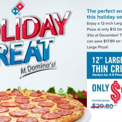 Domino's Pizza: Enjoy a Large Crunchy Thin Crust Pizza for just $12!