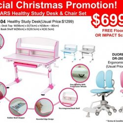 [Ergoworks] Special Christmas Promotion! New launch ERGOSTARS Healthy Study Desk & Chair Set ES-8804 at $699/set only! FREE 1x Floor