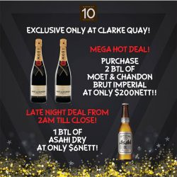 [District 10 Bar & Grill] What's going on at Clarke Quay on NYE, you say?Check out our MEGA HOT SALE! Enjoy 2 bottles