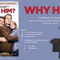 [Filmgarde Cineplex] Stand a chance to win WHY HIM? movie premiums!How To Participate 1. Like & share this post 2. Answer the