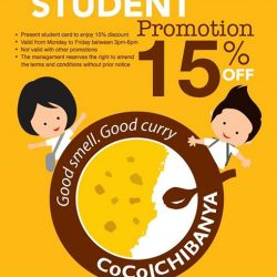 [Cocoichibanya Singapore] No Monday blues for our curry loving students! Enjoy 15% off upon presentation of your student card between 3 - 6