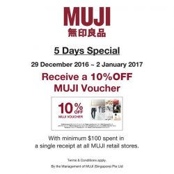 [MUJI Singapore] Before we usher into the New Year of 2017, we would like to extend a 5 Days Special to thank