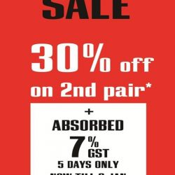 [C.E.D.S Sportswear] 4 DAYS LEFT to enjoy an absorbed 7% GST while shopping with us. Get down to any of our 3