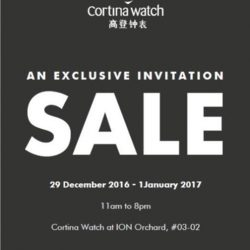 [Cortina Watch] Happy New Year 2017!!! Welcome the New Year with a new timepiece. Up to 70% off Last day 1 Jan