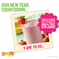 [Boost Juice Bars Singapore] One more day and we shall bid 2016 goodbye. Like and share this post to be one of the 3