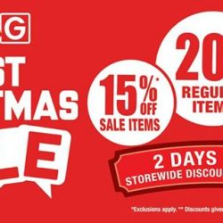 [BHG Singapore] Enjoy 20% off regular & 15% off sale items at all BHG stores tomorrow & monday 25 & 26 Dec! Merry Christmas everyone!