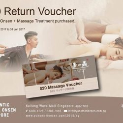 [Yunomori Onsen and Spa] Do not miss our fabulous voucher promotion. Receive $20 voucher with every onsen + massage treatment purchased. Promotion is valid from