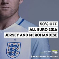 [Premier Football Singapore] 50% off England Home jersey and all Euro 2016 jersey & merchandise. https://goo.gl/1KF9Dc