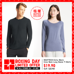 [Uniqlo Singapore] Travelling somewhere cold this time of year? Remember to pack HEATTECH Extra Warm Innerwear for your journey. With its raised
