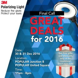 [POPULAR Bookstore] Visit POPULAR Junction 8 or POPULAR United Square to enjoy great deals on 3M Polarizing Light from 11 to 8pm!