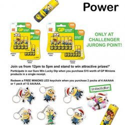 [CHALLENGER MINI] Catch the Minions mascot from 7 - 8 January, 12pm - 5pm at Challenger Jurong Point.Plus, join in on the lucky
