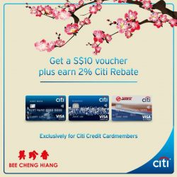 [Citibank ATM] Celebrate Spring's abundance this Lunar New Year. Get a S$10 Bee Cheng Hiang voucher + 2% Citi Rebate with
