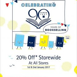 [Books Kinokuniya] Celebrating 90 Years of Bookselling! Enjoy 20% Off Storewide At All Kinokuniya Singapore Stores on 1 & 2 Jan'17 (Sun &