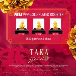 [Taka Jewellery Treasures] Golden rooster heralding in the goodness from Taka Jewellery. Welcome the New Year with adorable 999 gold zodiac amulet which