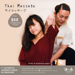 [Yunomori Onsen and Spa] Getting aches from all the CNY visiting? Get refreshed at Yunomori with our Thai Massage! Promotional prices for 60 minutes