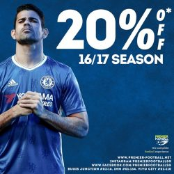 [Premier Football Singapore] 20% off 16/17 season! Promotion available both in store and online. https://goo.gl/6WXCnE