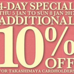 [C.E.D.S Sportswear] 10% + 10% OFF FOR TAKASHIMAYA CARD MEMBERS. FROM NOW TILL 8 JAN THIS SUN. 4 DAYS ONLY.