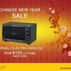 [Gain City] This Cornell Electric Oven measuring  (L55xD40xH33) cm has an adjustable thermostat ranging from 100 °C to 250 °C and is