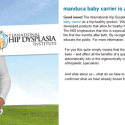 [Nichebabies] Manduca Baby Carrier is a HIP-HEALTHY PRODUCT!!Good news! The International Hip Dysplasia Institute (IHDI, Orlando) has recognised the