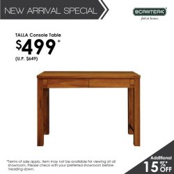 [Scanteak] It's the last day of our new arrival promotion! Take additional 15% off our new TALLA Console Table! It'