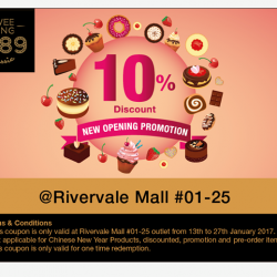 [Swee Heng Classic 1989] Good Morning everyone! To celebrate our new opening outlet at Rivervale Mall, we are giving away a 10% Discount Coupon,