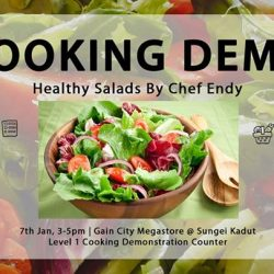 [Gain City] Chef Endy will be making healthy salads this Saturday, 7th Jan between 3-5pm at the Live Cooking Counter, level