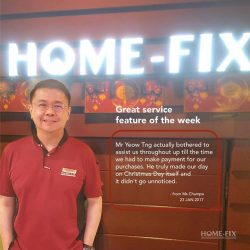[Home-Fix Singapore] We truly appreciate the words of encouragement given to our staff, like this one from Ms Champa & her husband! Here'