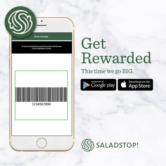 Salad Stop] Scan the barcode at the bottom of your receipt to