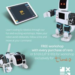 [Times bookstores] Learn Coding and Robotics Free workshop with purchase of RERO or sign up for $169 (UP $189). Workshop exclusively for