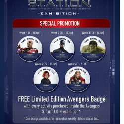 [Elements @ Play by Science Centre Singapore] Looking to pledge your allegiance to your favourite #Avenger? Receive a free limited edition #AvengersSTATIONSG badge whenever you purchase an