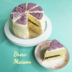 [Brew Maison] Special Japanese sponge cake with luscious purple sweet potato paste filling! Made with real goguma and no artificial flavoring involved.