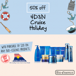 [Watsons Singapore] Enjoy 50% off 4D3N Penang - Langkawi Cruise when you spend $20 nett on any Bio-essence products in a single