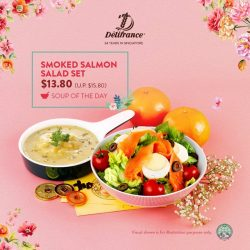 [Delifrance Singapore] Can't find a way to kick start your week? Try our nutritious Smoked Salmon Salad along with creamy Soup