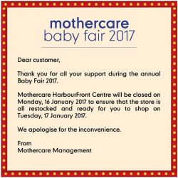 [Mothercare] Thank you for all the love and support for our Baby Fair 2017Our baby fair deals continue online till