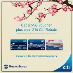 [Citibank ATM] Celebrate Spring's abundance with more savings this Lunar New Year. Get a S$8 Sheng Siong voucher + 2% Citi