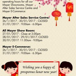 [MAYER] Dear valued Customer, please take note for our Business Operating Hour for all our Mayer Showroom, Mayer After Sales Service