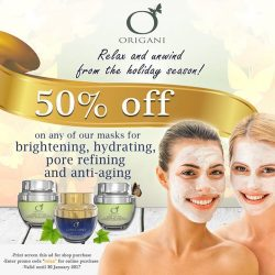 [Organi] Relax and Unwind from the Holiday Season!50% OFF on any of our masks for Brightening, Hydrating, Pore Refining and